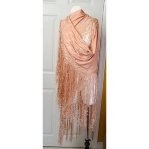 Vintage Embroidered Peach Piano Shawl with Fringe